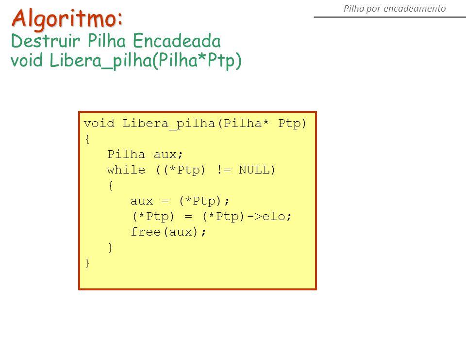 Pilha por encadeamento Algoritmo: Destruir Pilha Encadeada void Libera_pilha(Pilha*Ptp) { Pilha aux; while ((*Ptp) != NULL) { aux = (*Ptp); (*Ptp) = (*Ptp)->elo; free(aux); }