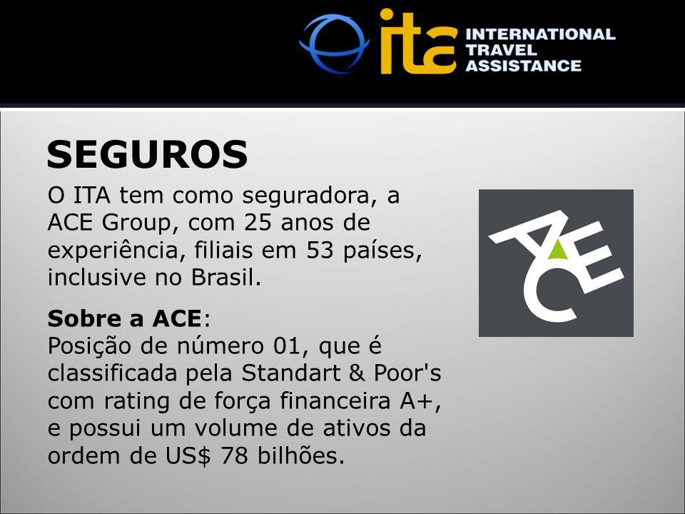SEGUROS O ITA tem como seguradora, a ACE Group, com 25 anos de experiência, filiais em 53 países, inclusive no Brasil. Sobre a ACE: Posição de número