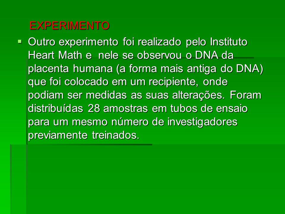 EXPERIMENTO EXPERIMENTO  Outro experimento foi realizado pelo Instituto Heart Math e nele se observou o DNA da placenta humana (a forma mais antiga d