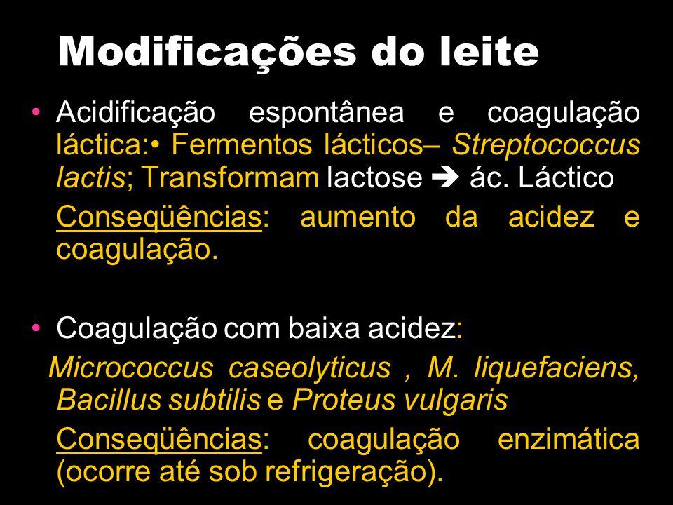 Modificações do leite Acidificação espontânea e coagulação láctica: Fermentos lácticos– Streptococcus lactis; Transformam lactose  ác. Láctico Conseq