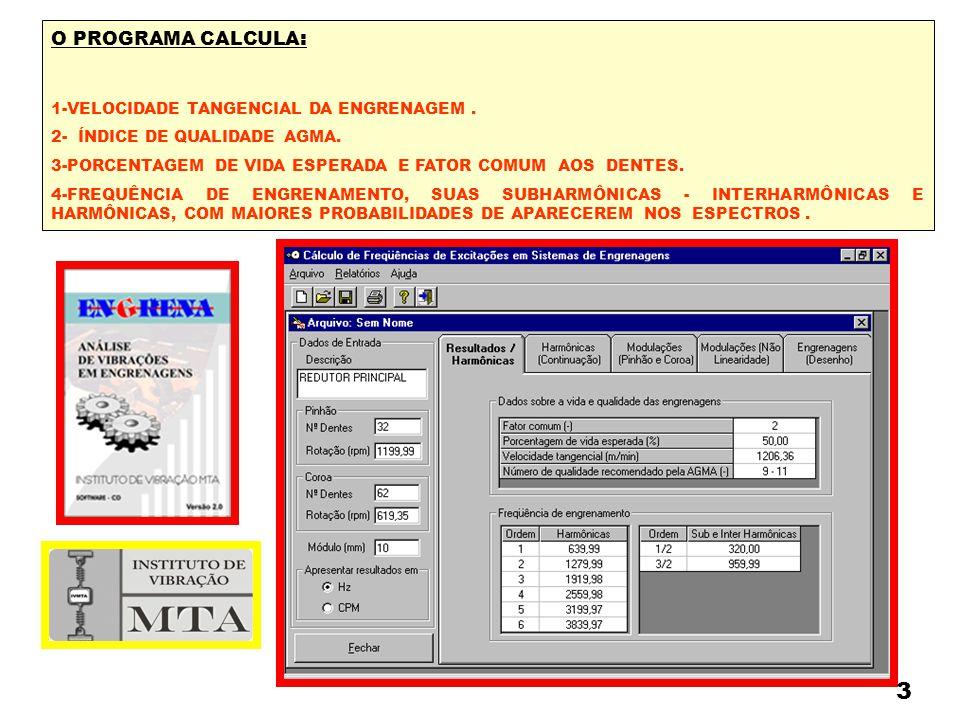 O PROGRAMA CALCULA : 1-VELOCIDADE TANGENCIAL DA ENGRENAGEM. 2- ÍNDICE DE QUALIDADE AGMA. 3-PORCENTAGEM DE VIDA ESPERADA E FATOR COMUM AOS DENTES. 4-FR