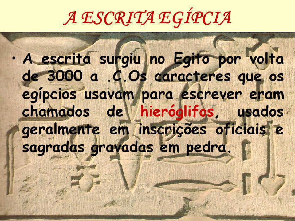 A ESCRITA EGÍPCIA A escrita surgiu no Egito por volta de 3000 a.C.Os caracteres que os egípcios usavam para escrever eram chamados de hieróglifos, usados geralmente em inscrições oficiais e sagradas gravadas em pedra.