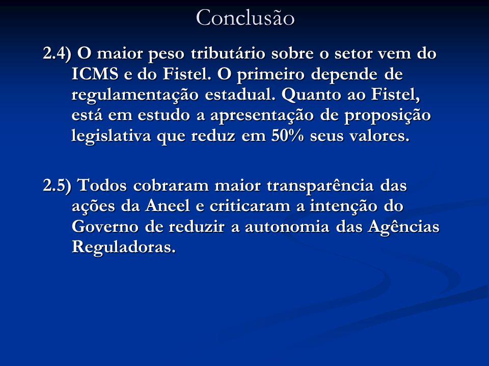 2.4) O maior peso tributário sobre o setor vem do ICMS e do Fistel.
