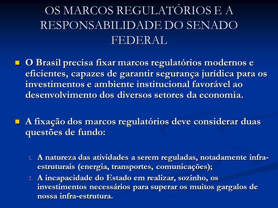 OS MARCOS REGULATÓRIOS E A RESPONSABILIDADE DO SENADO FEDERAL O Brasil precisa fixar marcos regulatórios modernos e eficientes, capazes de garantir segurança jurídica para os investimentos e ambiente institucional favorável ao desenvolvimento dos diversos setores da economia.