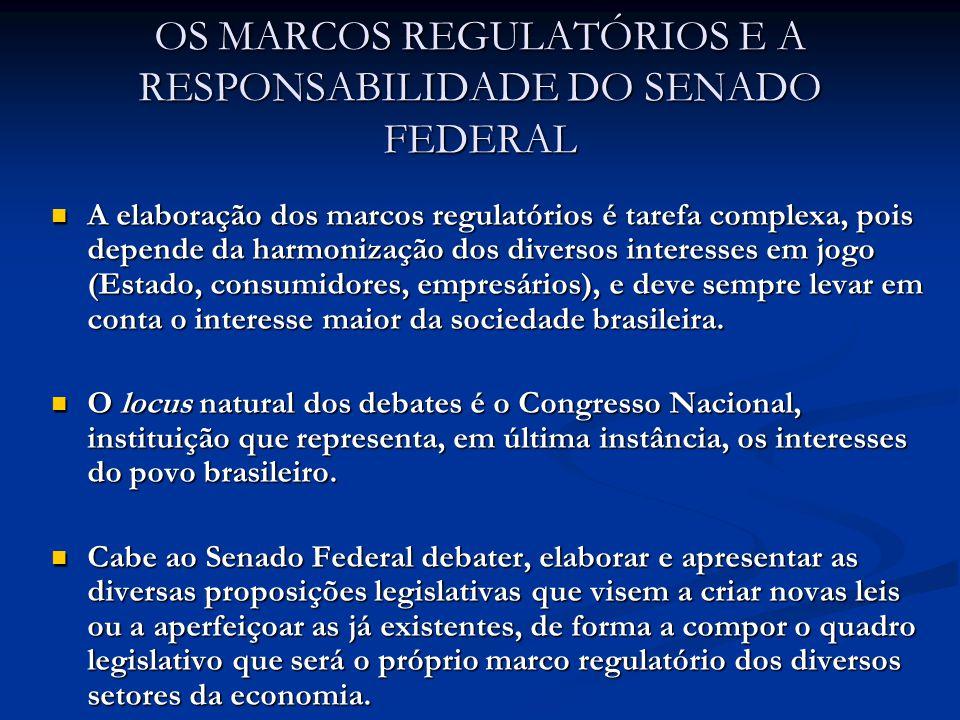 OS MARCOS REGULATÓRIOS E A RESPONSABILIDADE DO SENADO FEDERAL Em abril de 2007, foi instalada, no âmbito da Comissão de Assuntos Econômicos (CAE) do Senado, a Subcomissão dos Marcos Regulatórios, presidida pelo Senador Delcídio Amaral, e da qual sou o relator.
