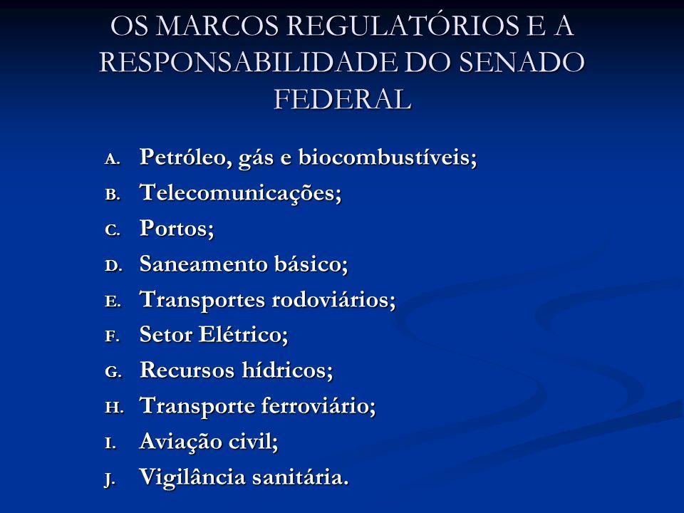 OS MARCOS REGULATÓRIOS E A RESPONSABILIDADE DO SENADO FEDERAL A.