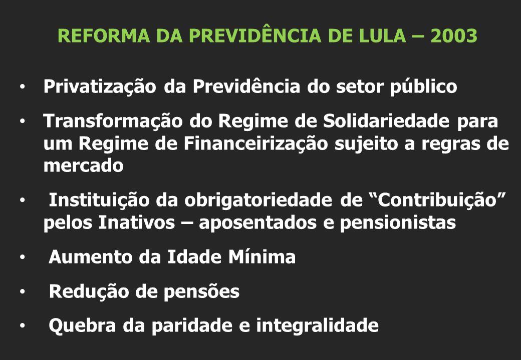 REFORMA DA PREVIDÊNCIA DE LULA – 2003 Privatização da Previdência do setor público Transformação do Regime de Solidariedade para um Regime de Financei