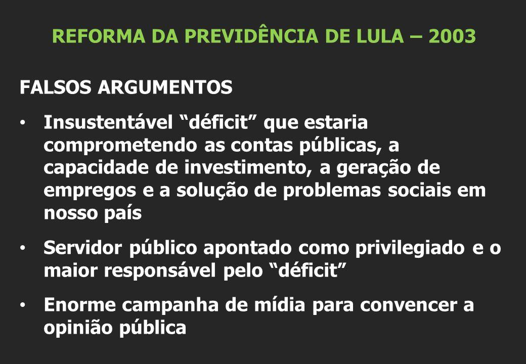 """REFORMA DA PREVIDÊNCIA DE LULA – 2003 FALSOS ARGUMENTOS Insustentável """"déficit"""" que estaria comprometendo as contas públicas, a capacidade de investim"""