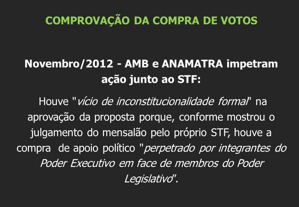 COMPROVAÇÃO DA COMPRA DE VOTOS Novembro/2012 - AMB e ANAMATRA impetram ação junto ao STF: Houve
