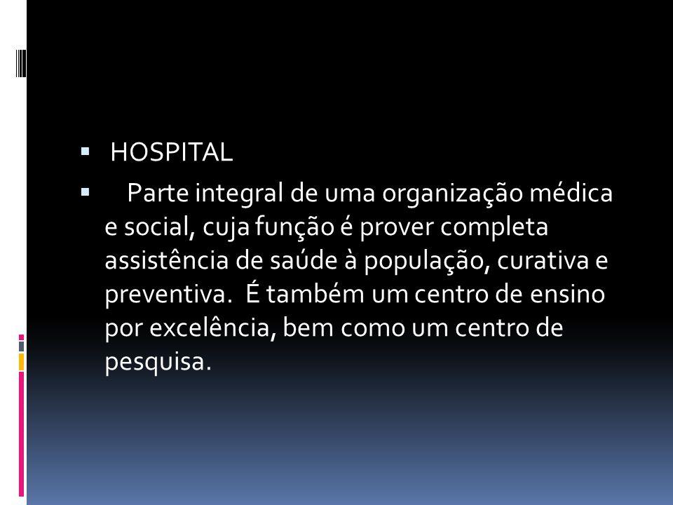  HOSPITAL  Parte integral de uma organização médica e social, cuja função é prover completa assistência de saúde à população, curativa e preventiva.