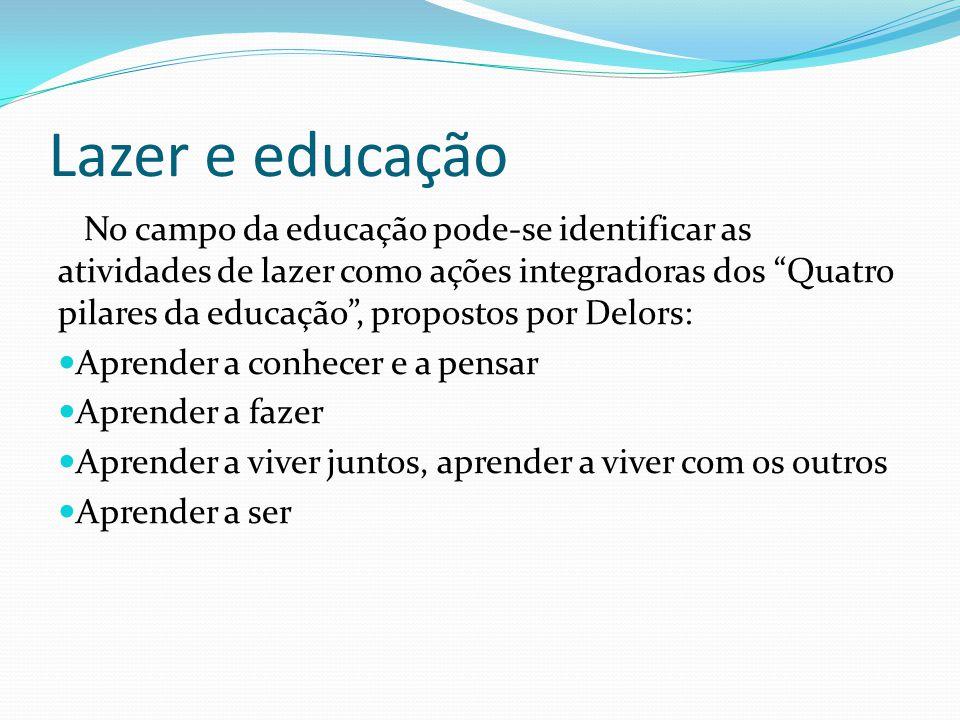 """Lazer e educação No campo da educação pode-se identificar as atividades de lazer como ações integradoras dos """"Quatro pilares da educação"""", propostos p"""