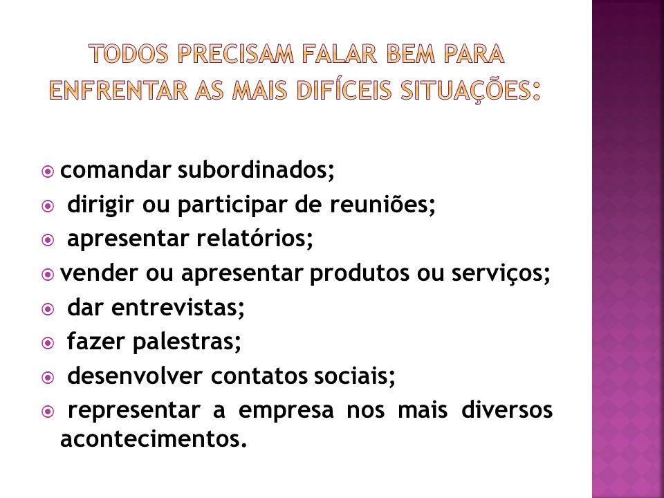  comandar subordinados;  dirigir ou participar de reuniões;  apresentar relatórios;  vender ou apresentar produtos ou serviços;  dar entrevistas;