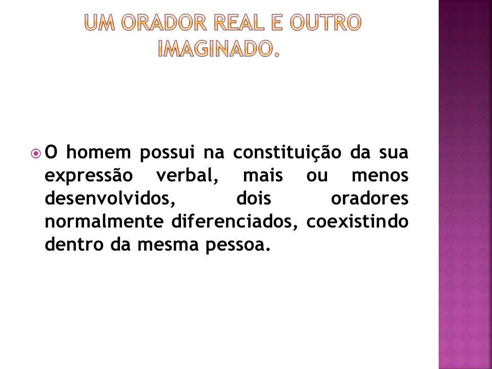  O homem possui na constituição da sua expressão verbal, mais ou menos desenvolvidos, dois oradores normalmente diferenciados, coexistindo dentro da