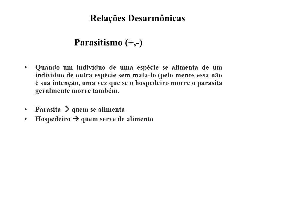 Parasitismo (+,-) Quando um indivíduo de uma espécie se alimenta de um individuo de outra espécie sem mata-lo (pelo menos essa não é sua intenção, uma