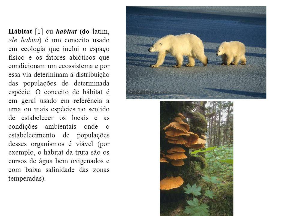 Hábitat [1] ou habitat (do latim, ele habita) é um conceito usado em ecologia que inclui o espaço físico e os fatores abióticos que condicionam um eco