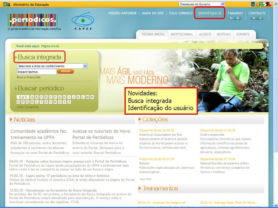 Novidades: Busca integrada Identificação do usuário