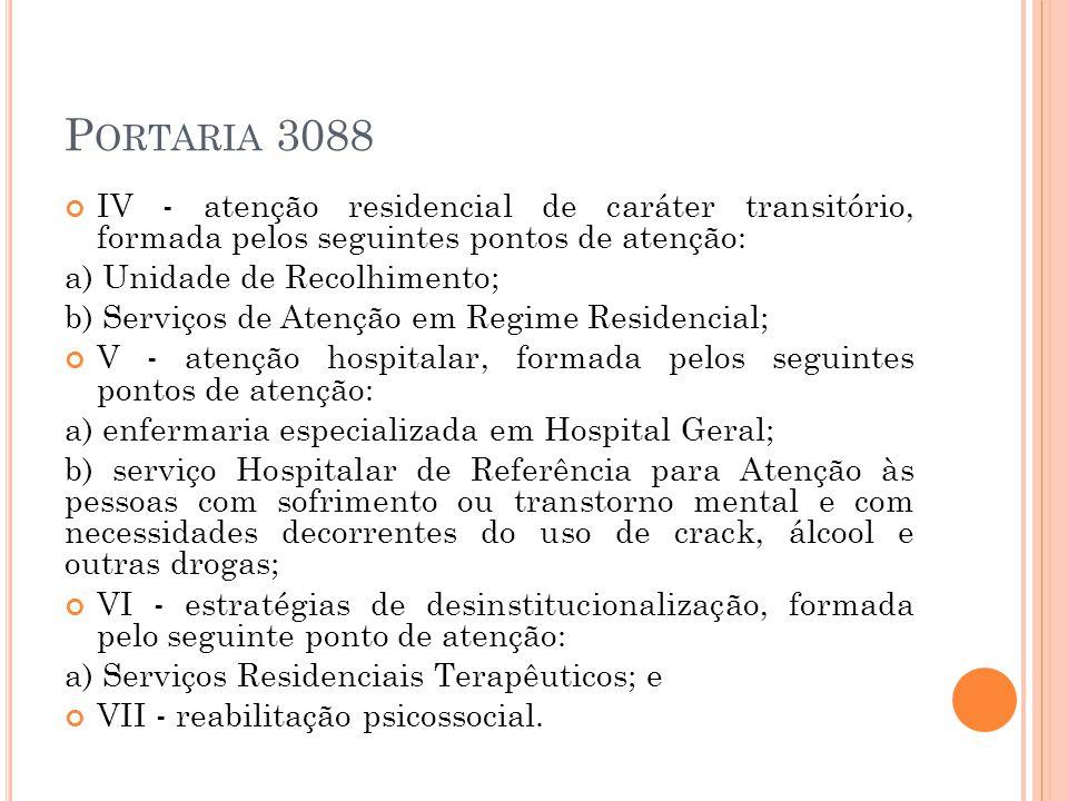 P ORTARIA 3088 IV - atenção residencial de caráter transitório, formada pelos seguintes pontos de atenção: a) Unidade de Recolhimento; b) Serviços de
