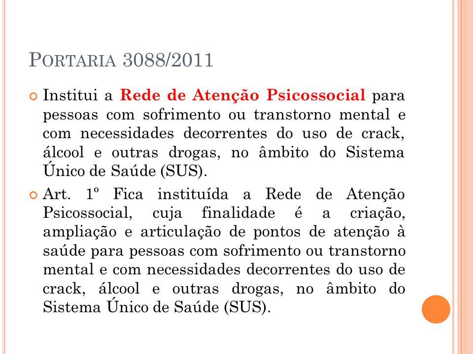 P ORTARIA 3088/2011 Institui a Rede de Atenção Psicossocial para pessoas com sofrimento ou transtorno mental e com necessidades decorrentes do uso de