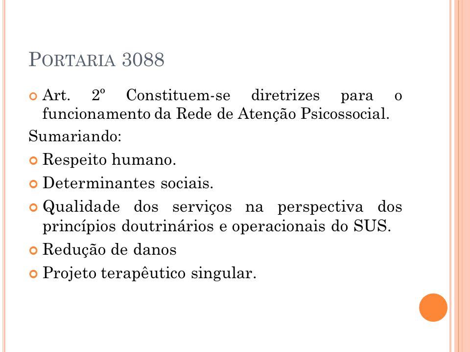 P ORTARIA 3088 Art. 2º Constituem-se diretrizes para o funcionamento da Rede de Atenção Psicossocial. Sumariando: Respeito humano. Determinantes socia