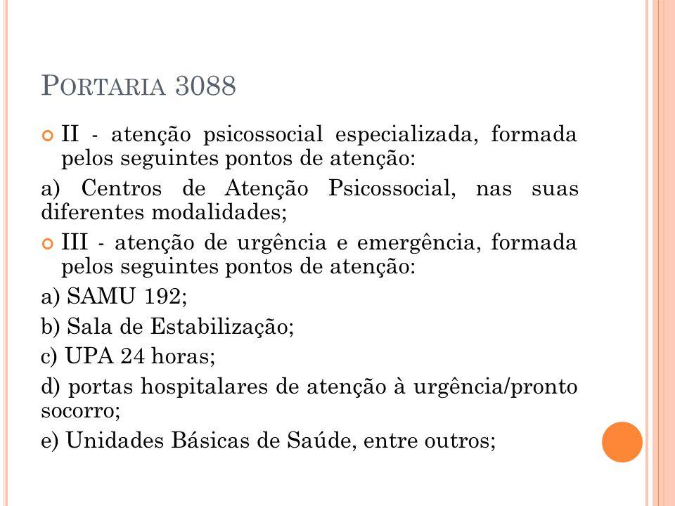 P ORTARIA 3088 II - atenção psicossocial especializada, formada pelos seguintes pontos de atenção: a) Centros de Atenção Psicossocial, nas suas difere