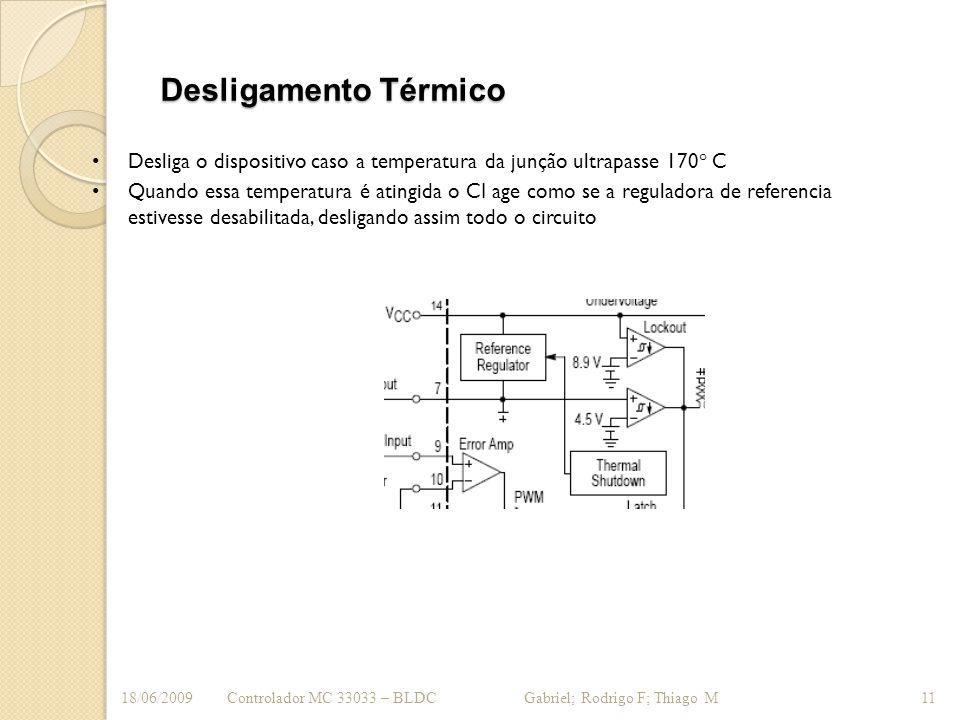 Desligamento Térmico Desliga o dispositivo caso a temperatura da junção ultrapasse 170° C Quando essa temperatura é atingida o CI age como se a regula