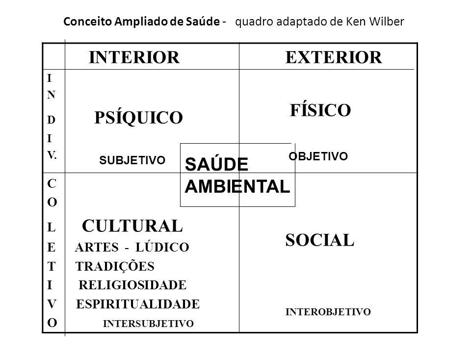 Conceito Ampliado de Saúde - quadro adaptado de Ken Wilber INTERIOR I N D PSÍQUICO I V.