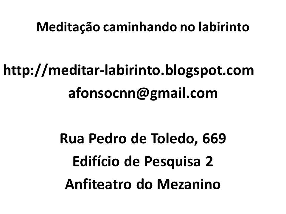 Meditação caminhando no labirinto http://meditar-labirinto.blogspot.com afonsocnn@gmail.com Rua Pedro de Toledo, 669 Edifício de Pesquisa 2 Anfiteatro do Mezanino