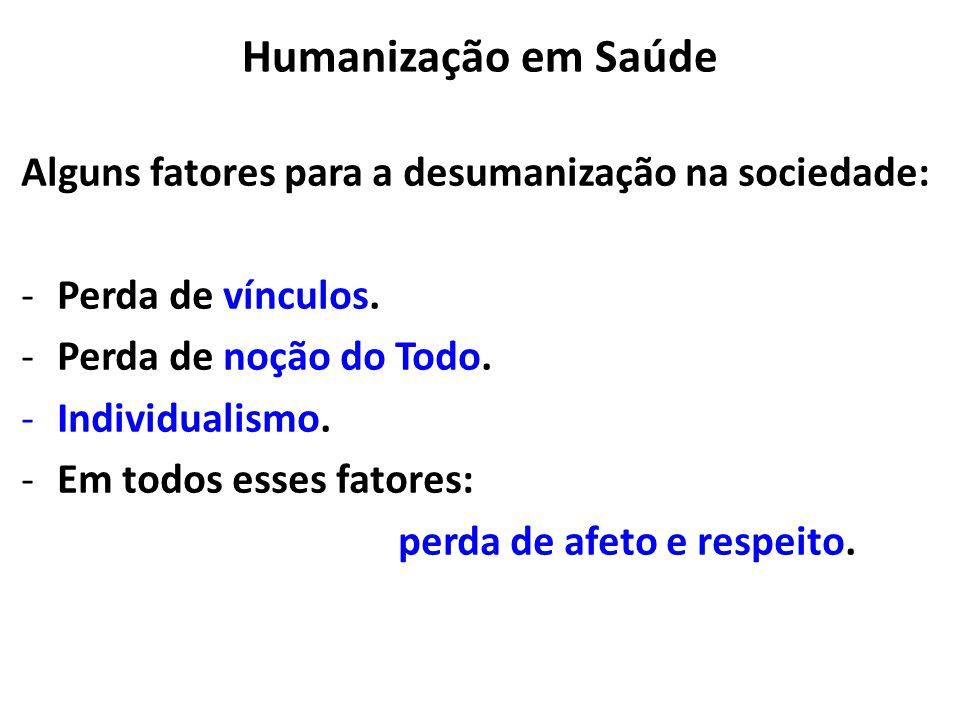 Humanização em Saúde Alguns fatores para a desumanização na sociedade: -Perda de vínculos.