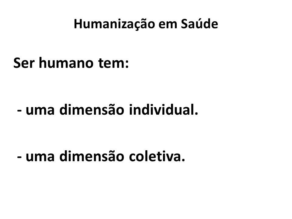 Humanização em Saúde Ser humano tem: - uma dimensão individual. - uma dimensão coletiva.