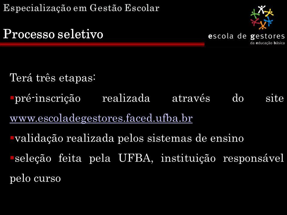 Terá três etapas:  pré-inscrição realizada através do site www.escoladegestores.faced.ufba.br www.escoladegestores.faced.ufba.br  validação realizad