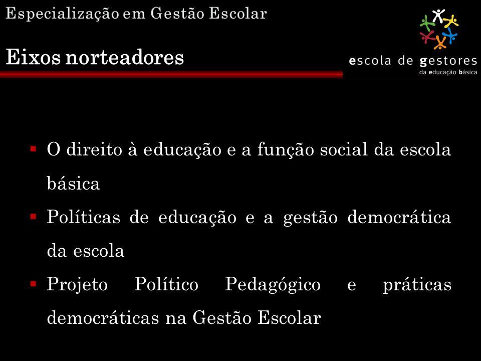  O direito à educação e a função social da escola básica  Políticas de educação e a gestão democrática da escola  Projeto Político Pedagógico e prá