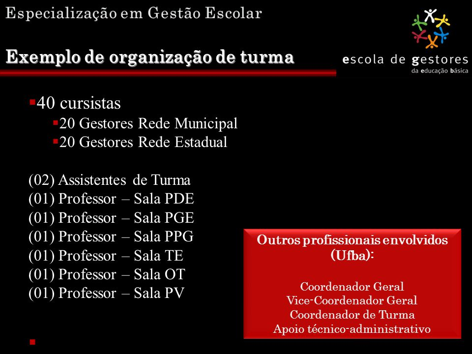 Exemplo de organização de turma  40 cursistas  20 Gestores Rede Municipal  20 Gestores Rede Estadual (02) Assistentes de Turma(02) Assistentes de T