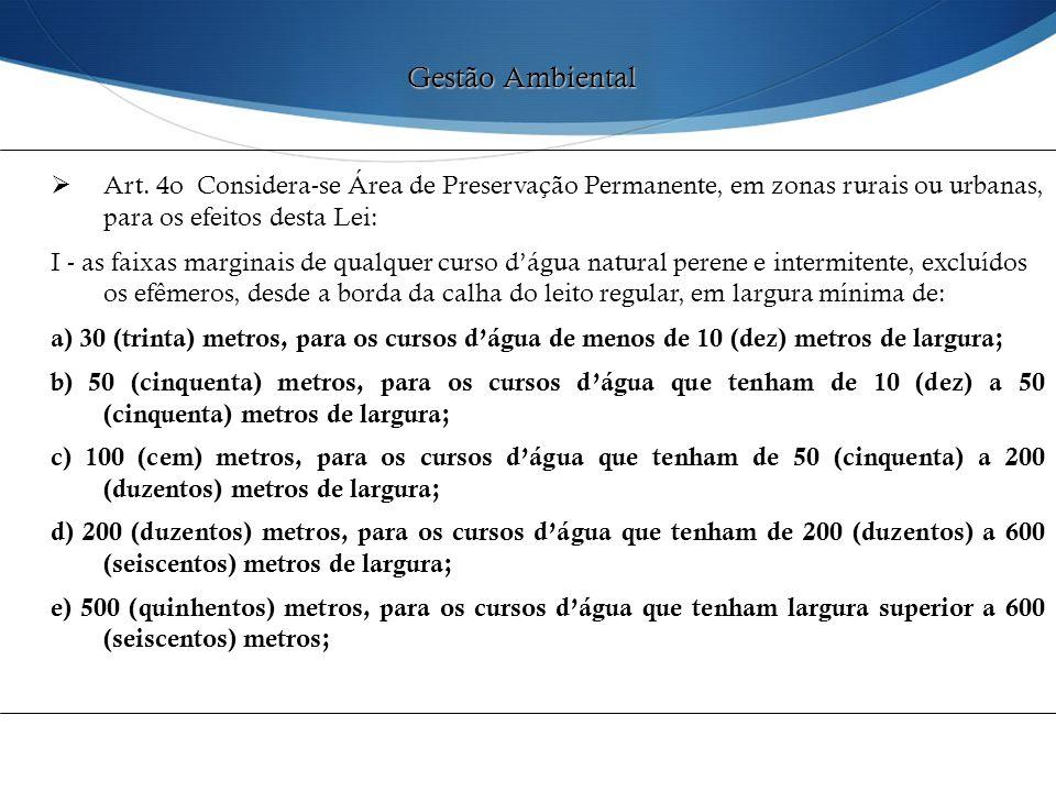  Art. 4o Considera-se Área de Preservação Permanente, em zonas rurais ou urbanas, para os efeitos desta Lei: I - as faixas marginais de qualquer curs