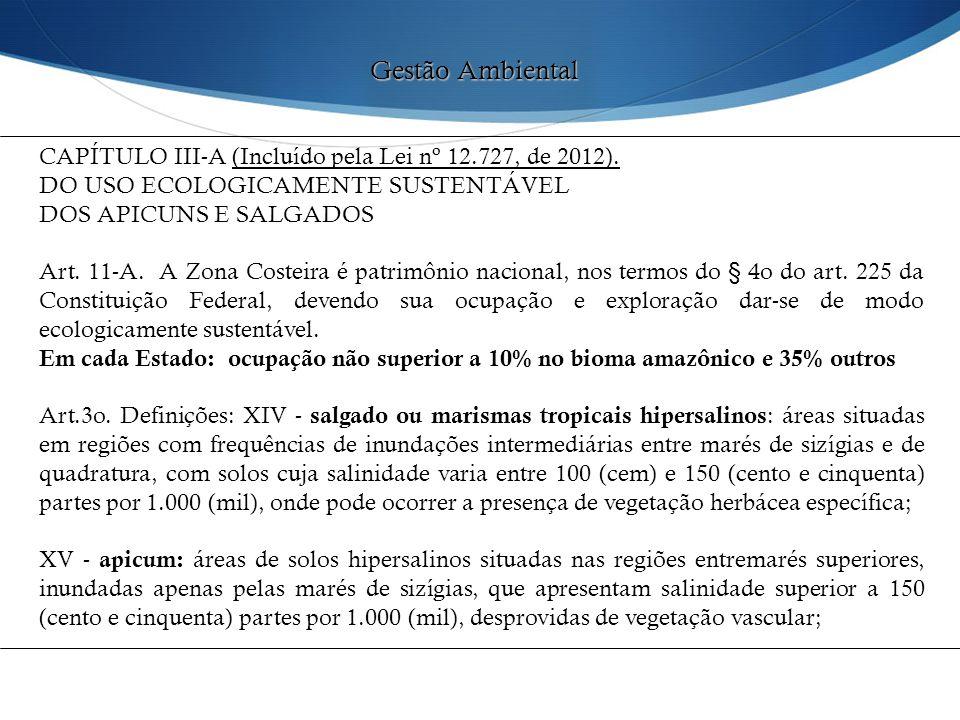 CAPÍTULO III-A (Incluído pela Lei nº 12.727, de 2012). DO USO ECOLOGICAMENTE SUSTENTÁVEL DOS APICUNS E SALGADOS Art. 11-A. A Zona Costeira é patrimôni