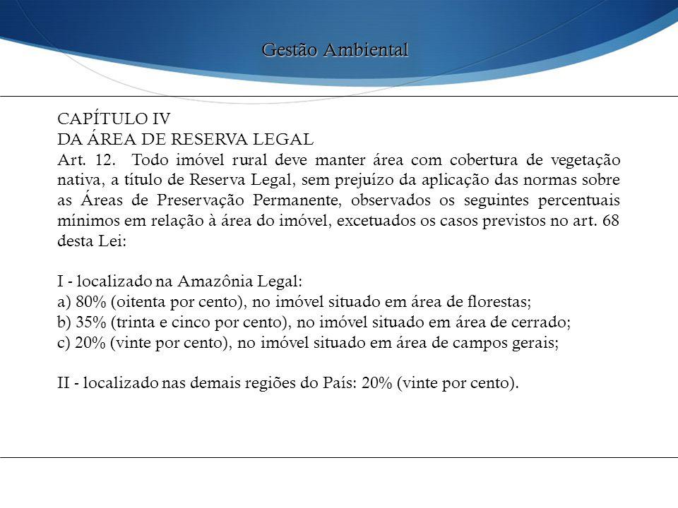 CAPÍTULO IV DA ÁREA DE RESERVA LEGAL Art. 12. Todo imóvel rural deve manter área com cobertura de vegetação nativa, a título de Reserva Legal, sem pre