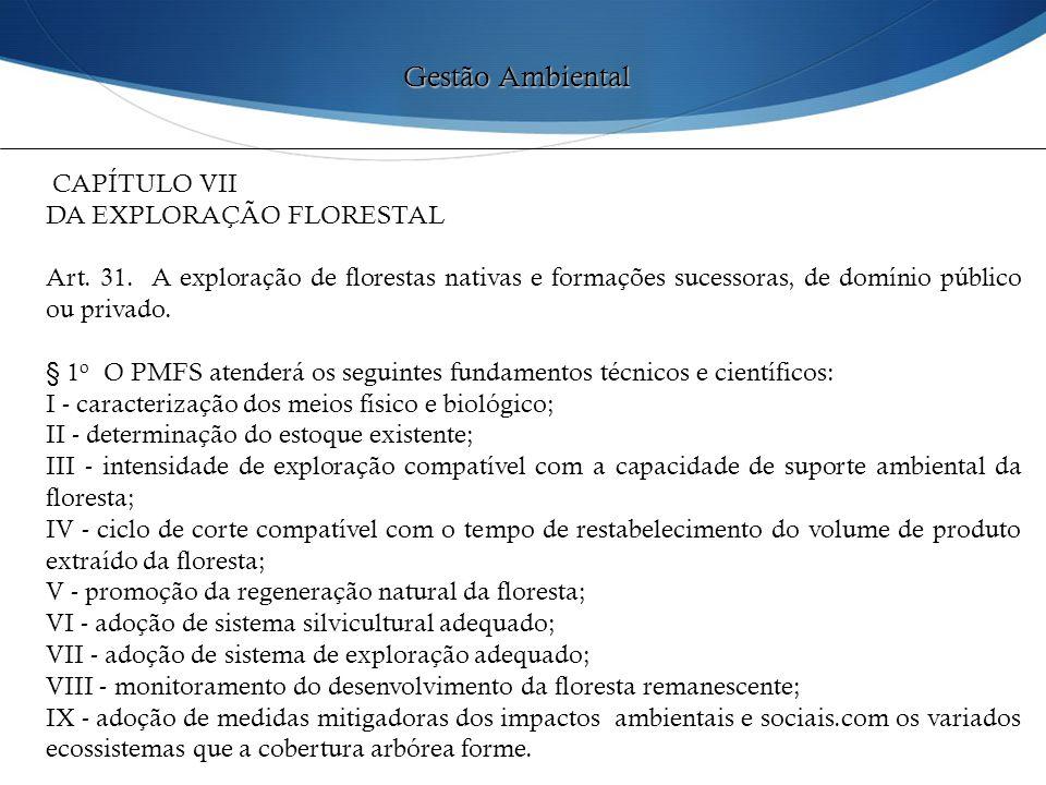 CAPÍTULO VII DA EXPLORAÇÃO FLORESTAL Art. 31. A exploração de florestas nativas e formações sucessoras, de domínio público ou privado. § 1 o O PMFS at