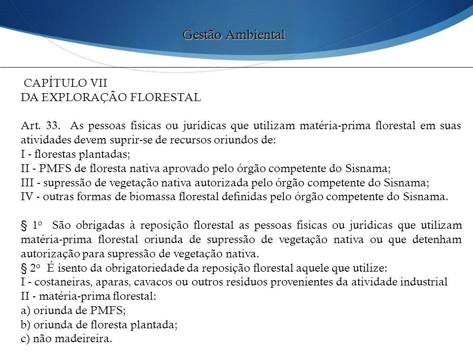 CAPÍTULO VII DA EXPLORAÇÃO FLORESTAL Art. 33. As pessoas físicas ou jurídicas que utilizam matéria-prima florestal em suas atividades devem suprir-se