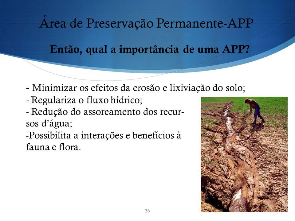 26 Área de Preservação Permanente-APP Então, qual a importância de uma APP? - Minimizar os efeitos da erosão e lixiviação do solo; - Regulariza o flux