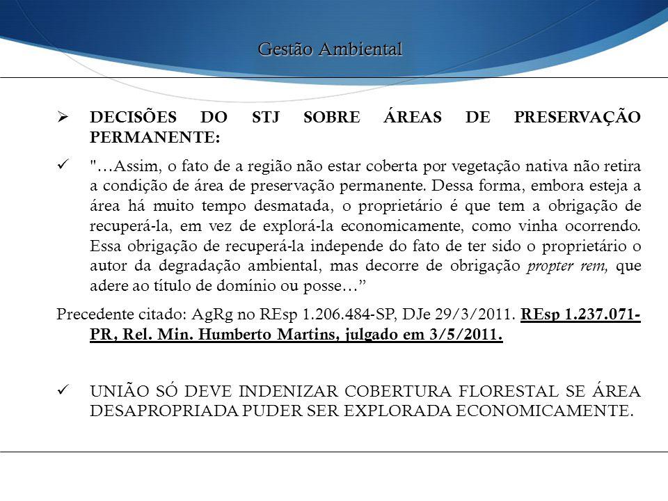  DECISÕES DO STJ SOBRE ÁREAS DE PRESERVAÇÃO PERMANENTE: