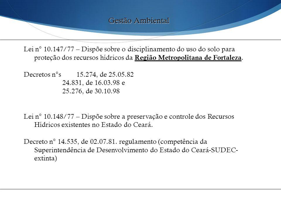 Lei n° 10.147/77 – Dispõe sobre o disciplinamento do uso do solo para proteção dos recursos hídricos da Região Metropolitana de Fortaleza. Decretos n°