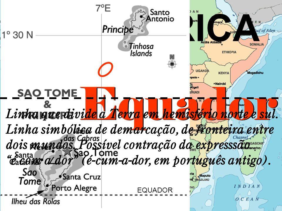 ÁFRICA Equador EQUADOR Linha que divide a Terra em hemisfério norte e sul.