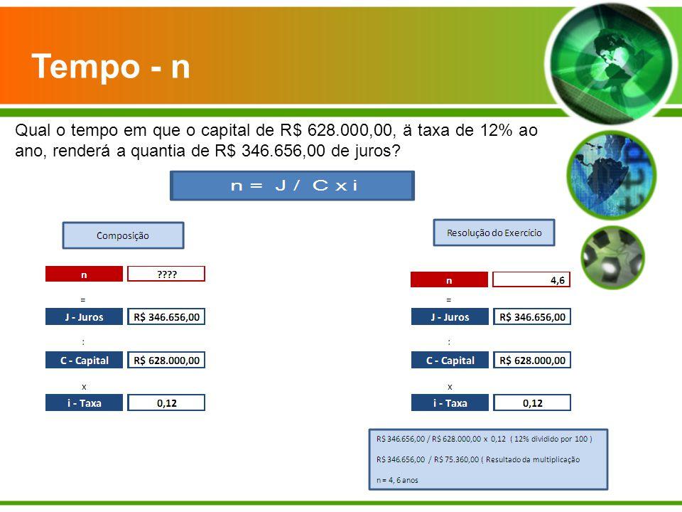Qual o tempo em que o capital de R$ 628.000,00, ä taxa de 12% ao ano, renderá a quantia de R$ 346.656,00 de juros? Tempo - n