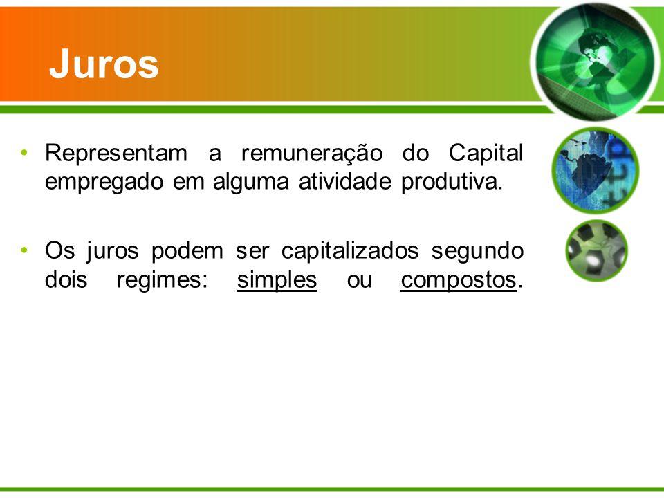 Juros Representam a remuneração do Capital empregado em alguma atividade produtiva. Os juros podem ser capitalizados segundo dois regimes: simples ou