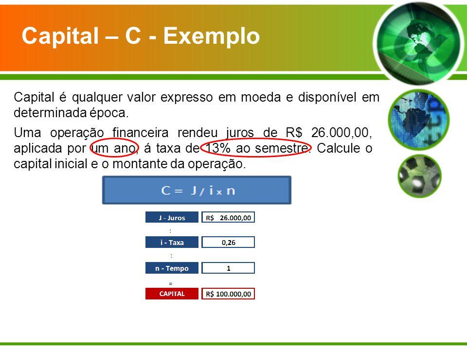 Capital – C - Exemplo Capital é qualquer valor expresso em moeda e disponível em determinada época. Uma operação financeira rendeu juros de R$ 26.000,