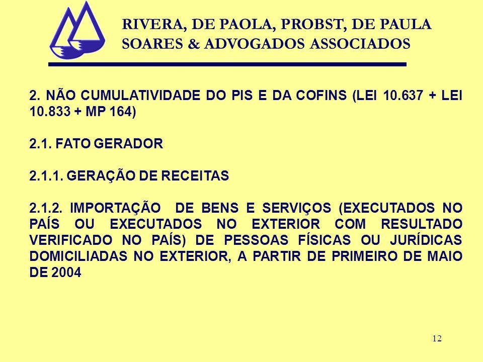 12 2. NÃO CUMULATIVIDADE DO PIS E DA COFINS (LEI 10.637 + LEI 10.833 + MP 164) 2.1.