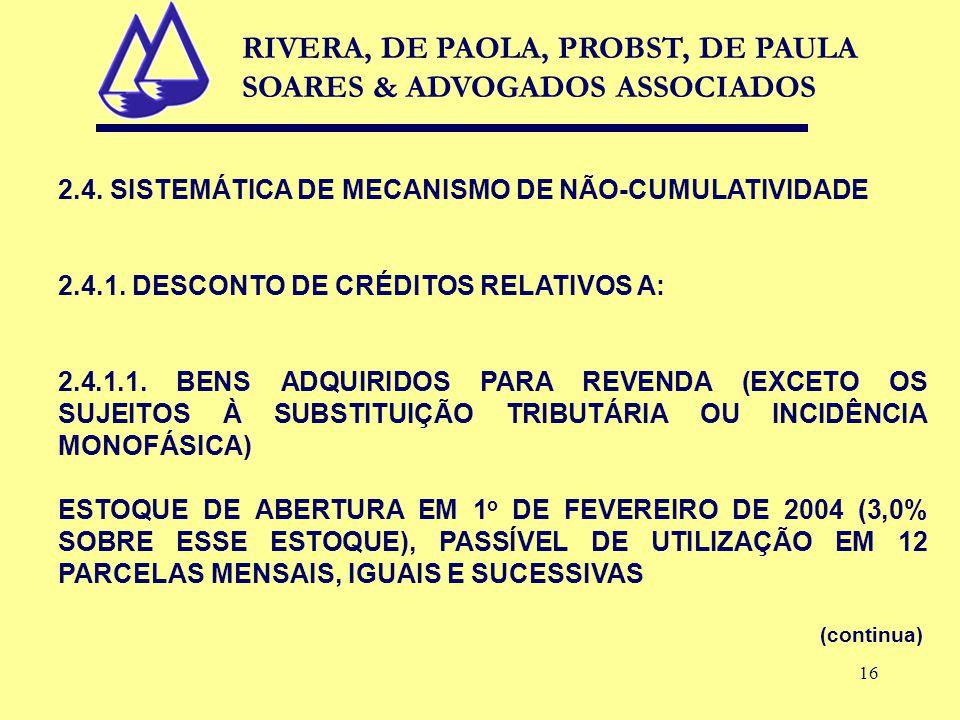 16 2.4. SISTEMÁTICA DE MECANISMO DE NÃO-CUMULATIVIDADE 2.4.1. DESCONTO DE CRÉDITOS RELATIVOS A: 2.4.1.1. BENS ADQUIRIDOS PARA REVENDA (EXCETO OS SUJEI