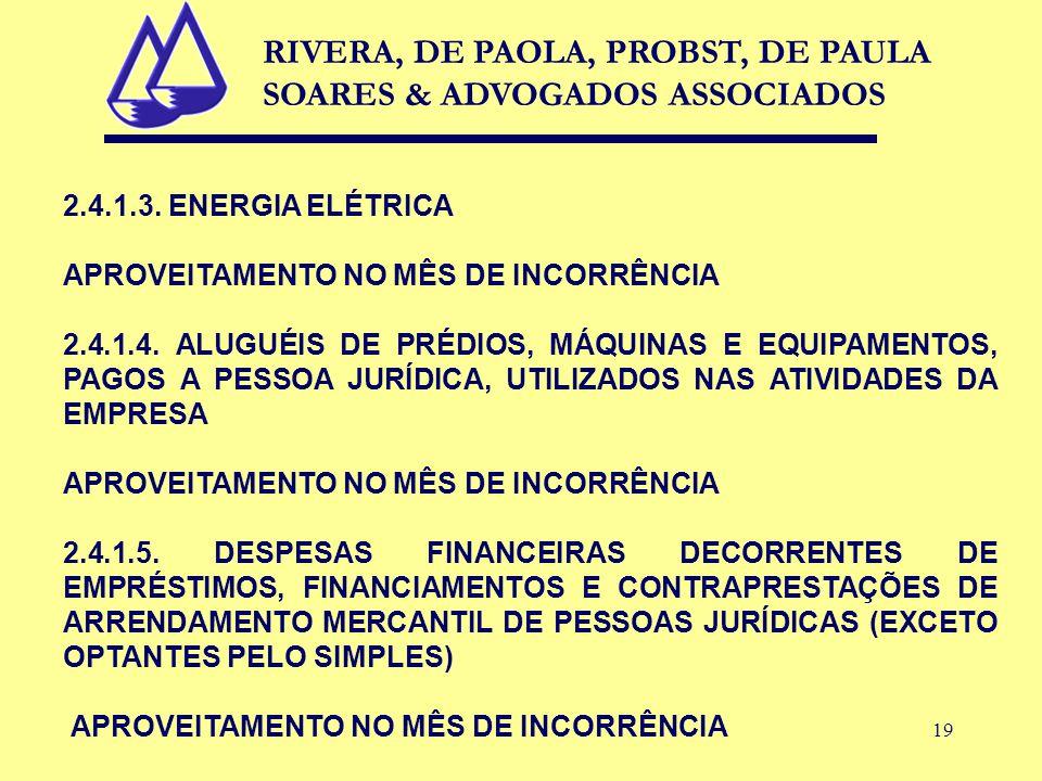 19 2.4.1.3. ENERGIA ELÉTRICA APROVEITAMENTO NO MÊS DE INCORRÊNCIA 2.4.1.4. ALUGUÉIS DE PRÉDIOS, MÁQUINAS E EQUIPAMENTOS, PAGOS A PESSOA JURÍDICA, UTIL