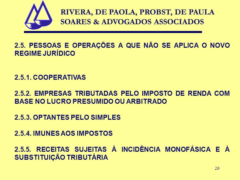 26 2.5. PESSOAS E OPERAÇÕES A QUE NÃO SE APLICA O NOVO REGIME JURÍDICO 2.5.1.