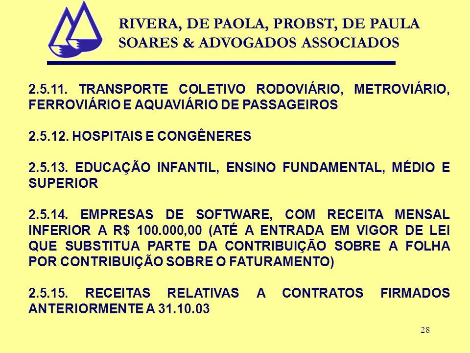 28 2.5.11. TRANSPORTE COLETIVO RODOVIÁRIO, METROVIÁRIO, FERROVIÁRIO E AQUAVIÁRIO DE PASSAGEIROS 2.5.12. HOSPITAIS E CONGÊNERES 2.5.13. EDUCAÇÃO INFANT
