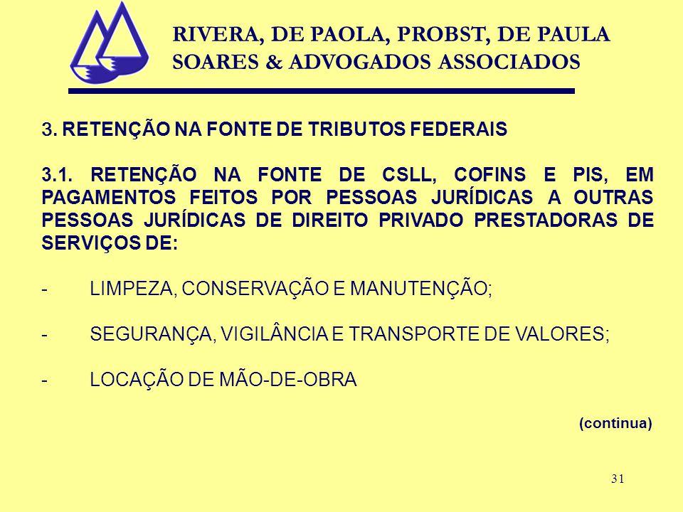 31 3. RETENÇÃO NA FONTE DE TRIBUTOS FEDERAIS 3.1.